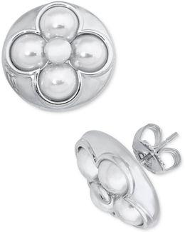 Sterling Silver Imitation Pearl Flower Stud Earrings
