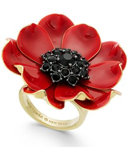 14k Gold-plated Enamel And Stone Poppy Ring