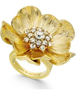 14k Gold-plated Crystal Cluster Poppy Ring