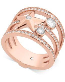 Rose Gold-tone Stainless Steel Crystal & Star Ring