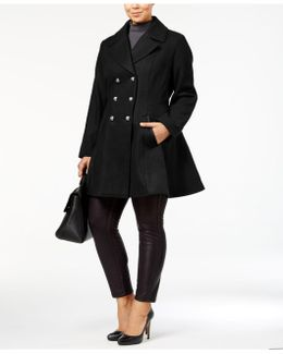 Plus Size Skirted Wool-blend Peacoat
