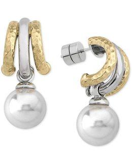 Two-tone Imitation Pearl Drop Earrings