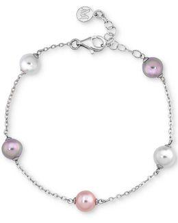 Sterling Silver Imitation Pearl Link Bracelet