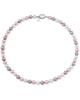 Sterling Silver Colored Imitation Pearl Strand Necklace