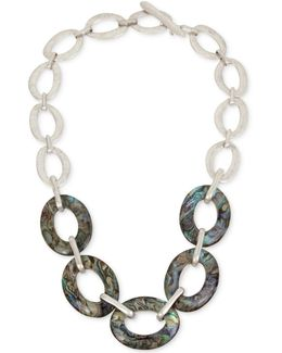 Silver-tone & Abalone Large Link Necklace