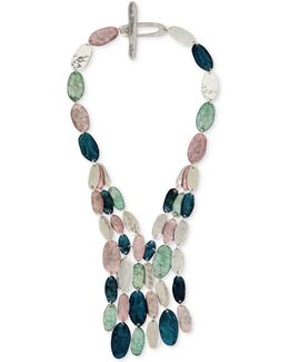 Silver-tone Multi-stone Statement Necklace
