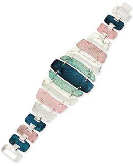 Silver-tone Multi-stone Flex Bracelet