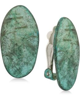 Silver-tone Oval Patina Clip-on Earrings