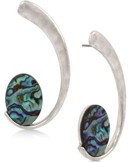 Silver-tone Abalone-look Swirl Drop Earrings