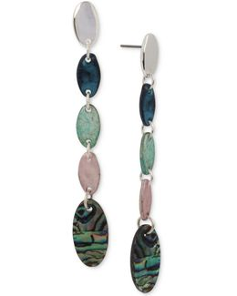 Silver-tone Patina Linear Drop Earrings