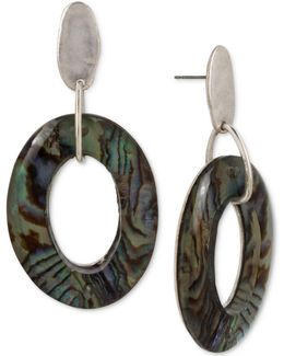 Silver-tone Abalone-look Gypsy Hoop Earrings