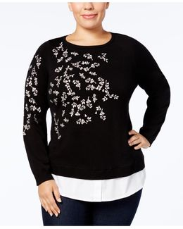 Plus Size Embroidered Layered-look Sweater