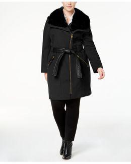 Plus Size Mixed-media Asymmetrical Coat