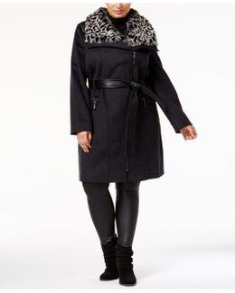 Plus Size Faux-fur-collar Faux-leather-belt Walker Coat