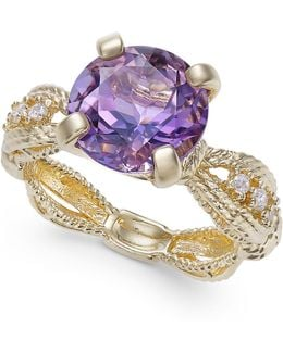 Amethyst (2-1/2 Ct. T.w.) & Diamond (1/10 Ct. T.w.) Ring In 14k Gold-plated Sterling Silver