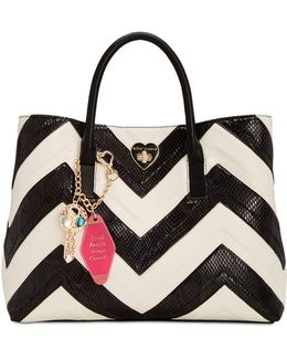 Large Chevron Tote With Hotel Charms