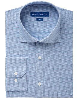 Men's Slim-fit Comfort Stretch Cerulean Square Dobby Dress Shirt