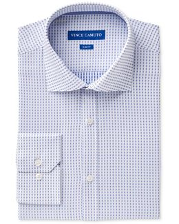 Men's Slim-fit Comfort Stretch Cerulean Square Dobby Dress Shirt