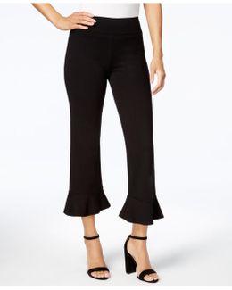 Cropped Flounce-hem Trousers