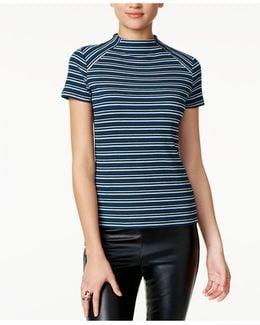 Striped Mock-neck Top