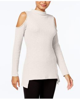 Cold-shoulder Mock-turtleneck Sweater