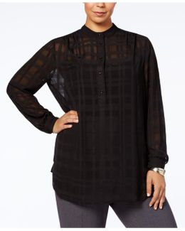 Plus Size Sheer Checked Shirt