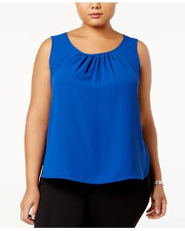 Plus Size Scoop-neck Shell