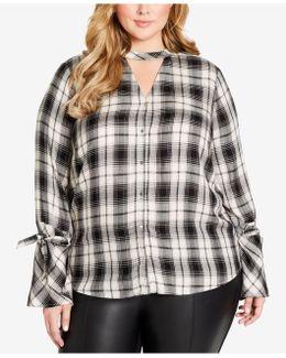 Trendy Plus Size Carol Plaid Choker Blouse