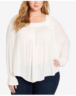 Trendy Plus Size Bailey Lace-up Blouse