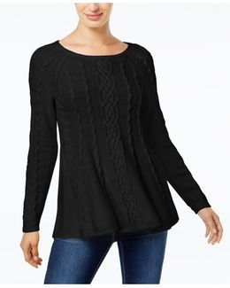 Cable-knit Trapeze Sweater