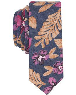 Men's Painted Floral Skinny Tie