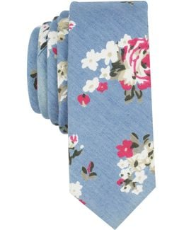 Men's Chambray Floral Skinny Tie