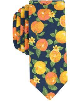 Men's Citrus Print Skinny Tie