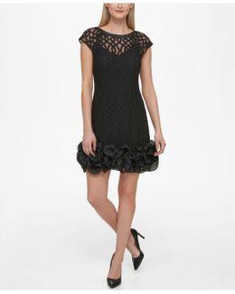 Rosette-trim Flocked Velvet Dress