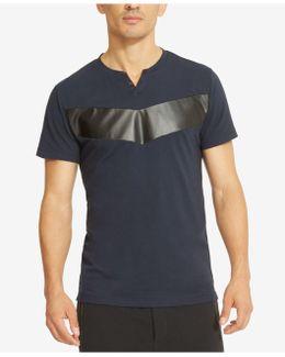 Men's Split-neck Faux Leather Pieced T-shirt