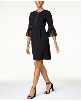 Pleated Bell-sleeve Dress