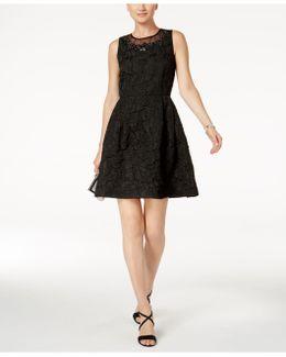Jeweled Jacquard Fit & Flare Dress