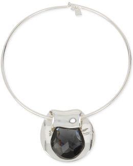 Silver-tone Jet Crystal Circular Pendant Necklace