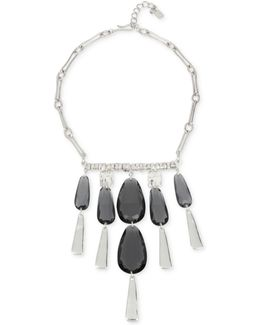 Silver-tone Jet Stone Statement Necklace