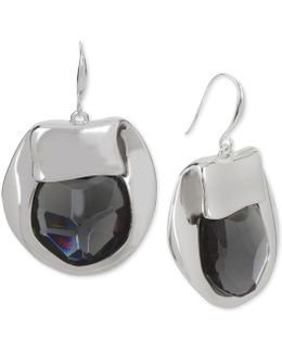 Silver-tone Purple Stone Sculptural Drop Earrings