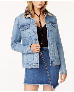Kamryn Faux-fur-collar Denim Jacket