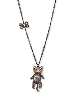 Two-tone Multicolor Pavé Bow & Cat Pendant Necklace
