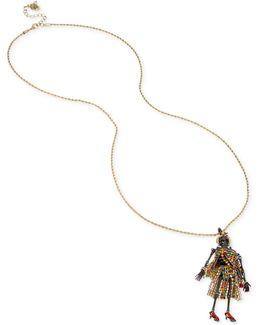 Two-tone Multicolor Pavé Skeleton Pendant Necklace