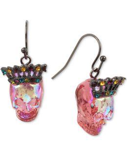 Two-tone Multicolor Pavé Crown & Skull Drop Earrings