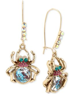 Gold-tone Multi-stone Spider Drop Earrings