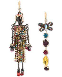Two-tone Multi-stone Skeleton & Bow Mismatch Earrings