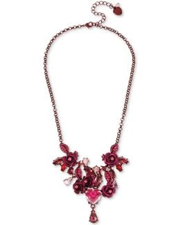 Pink-tone Flower & Crystal Collar Necklace