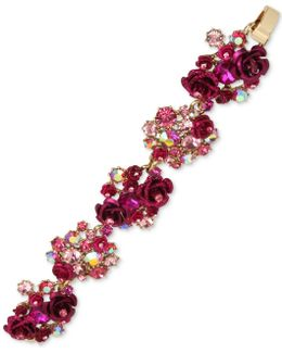 Gold-tone Pink Stone & Flower Cluster Flex Bracelet