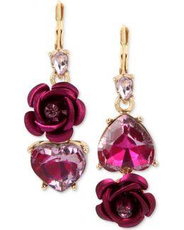 Two-tone Pink Crystal Heart & Flower Mismatch Earrings