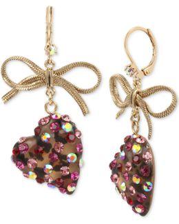 Gold-tone Stone Heart & Ribbon Drop Earrings